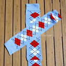 Blue, Red & White Argyle Leg/Arm Warmer