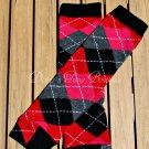 Red/Black Argyle Leg/Arm Warmer