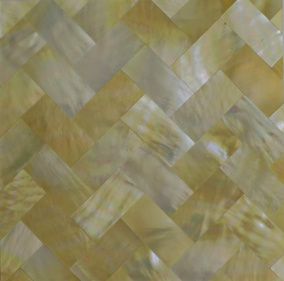 "Gold Mother of Pear Tiles Weave Design 2""x2"" (100 pcs)"