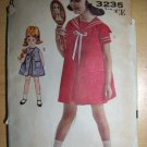 Vintage 1960s Advance Sew Easy 3235 Childs Dress Pattern Size 6