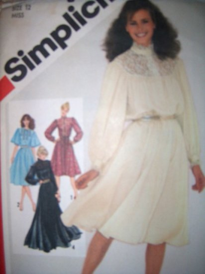 Vintage 1980s 5284 Simpilcity Pattern, Misses Pullover Dress in two lengths, Size 12, Uncut