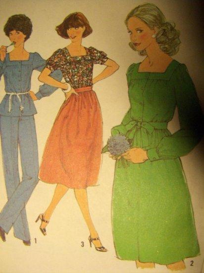 Vintage 1970s Simplicity 8356 Pattern Misses Blouse, Pants, and Skirt, Size 12, UNCUT