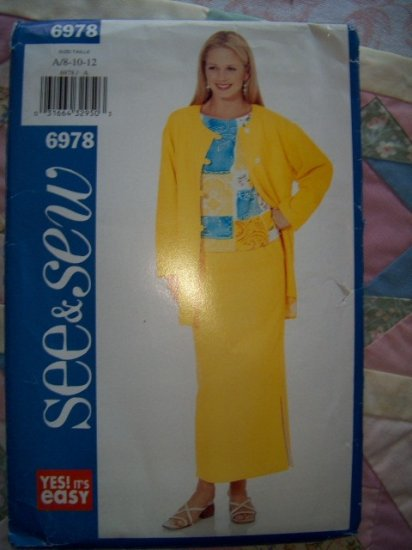 2000 See and Sew Very Easy 6978 Pattern, Misses Jacket, Top, and Skirt Size 8, 10, 12, Uncut