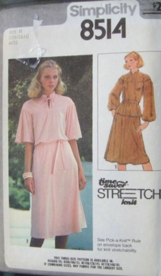 Vintage 1970s Simplicity Stretch 8514 Pattern Two Piece Dress Size 10 12 14, Bust 32.5 to 36, Uncut