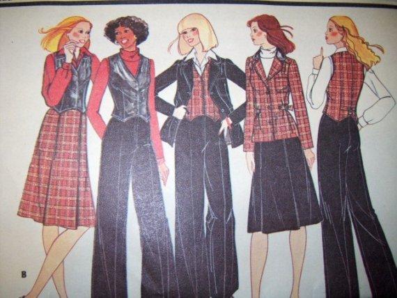 Vintage 1970s Carefree McCalls 5190 Pattern, Jacket, Vest, Skirt,  Bell Bottom Pants, Size 10, Uncut