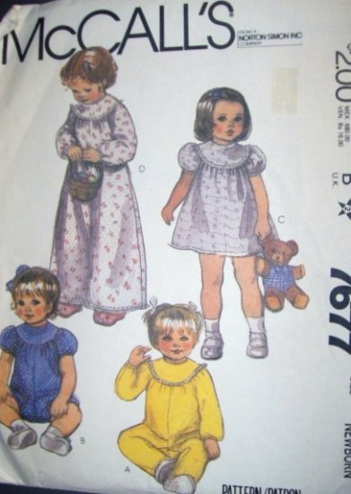 Vintage 1980s McCalls 7677 Pattern Babys Rompers, Dress or Nightgown Size Newborn Uncut