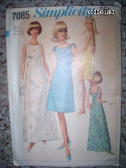 Vintage 1960s Simplicity 7085 Pattern Gown, Dress Size 12, bust 32, Uncut