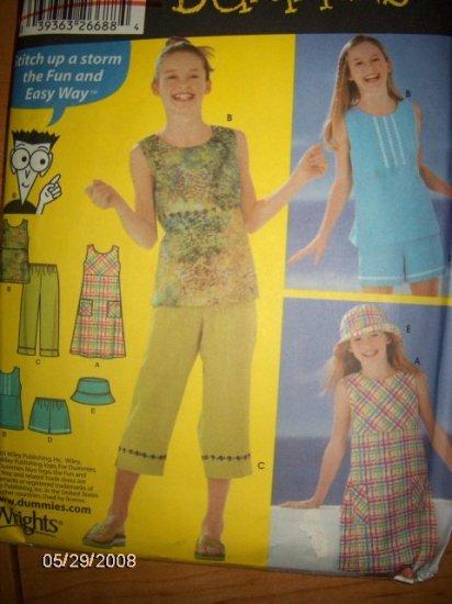 Simplicity 5577 Girls Pullover Dress or Top, Capris, Shorts & Hat  Pattern Sz 12 14 16 Uncut