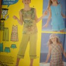 Simplicity 5577 Girls Pullover Dress or Top, Capris, Shorts & Hat  Pattern Sz 12 14 16 Uncut
