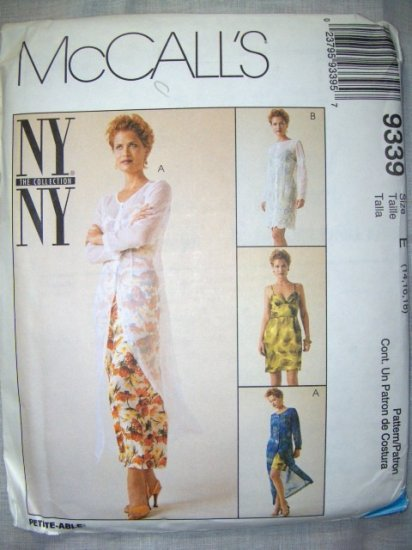 McCalls 9339 Pattern, Misses Dress & Slipdress, Sizes 14, 16, 18, bust 36, 38, 40, UNCUT