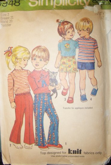 Vintage 1971 Simplicity 9948 Pattern Toddlers' Child's Pants , Top, size 2,