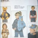 Simplicity 7855 Child Backpack, Vest, Hat, Scarf, Mitt, & Muff Pattern - Size S M L, UNCUT FF OOP