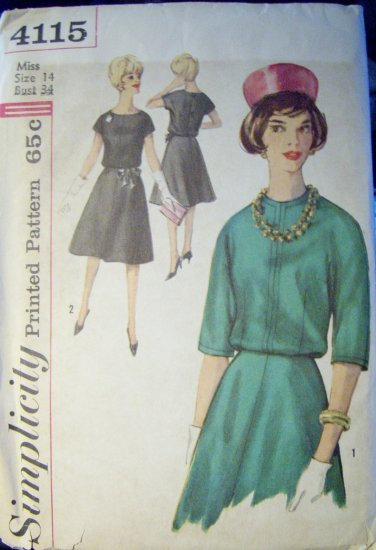 Vintage 1960s Simplicity 4115 Pattern Two Piece Dress, Size 14, Bust 34, Uncut