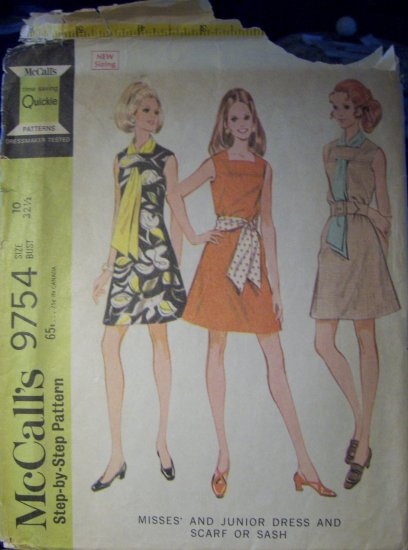 Vintage 1960s McCalls 9754 Pattern Misses Dress, Scarf or Sash, Size 10, Bust 32.5