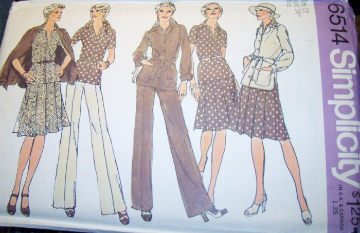 Vintage 1970s Simplicity 6514 Pattern Jacket, Two Piece Dress and Pants Size 12 Bust 34 Uncut