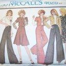 Vintage 1970s McCalls 4628 Pattern, Misses Jacket, Skirt & Bell Bottoms, Size 10, Bust 32.5  Uncut