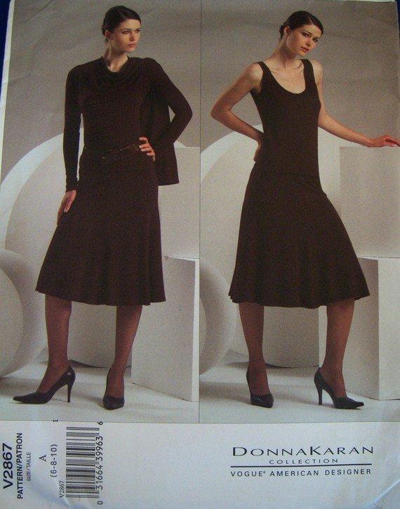 OOP Vogue Donna Karan V2867 Pattern, Shrug, Top, Skirt, Size 6, 8, 10, Bust 30.5, 31.5 32.5, UNCUT