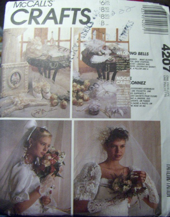 OOP  McCalls 4207 Bridal Sewing Pattern, Ring Pillow, Garter, Sachet, Basket, Gloves, Rose, UNCUT