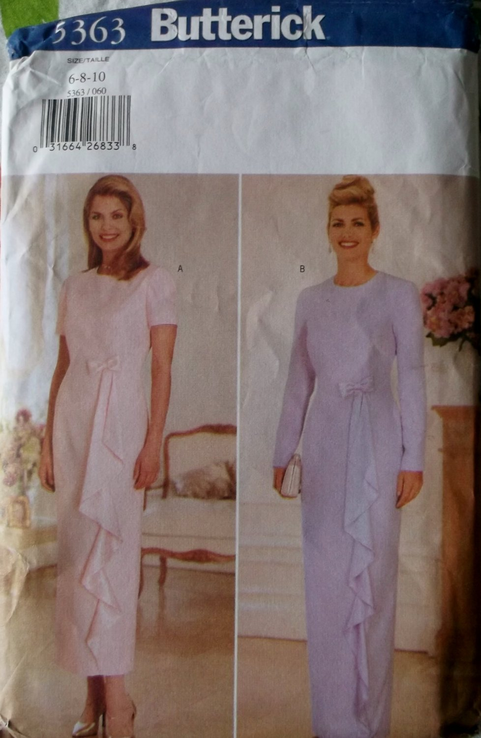 Butterick 5363 Sewing Pattern, Dress Size 6, 8, 10, UNCUT