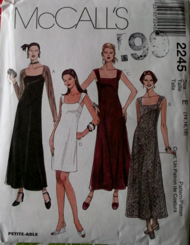 McCalls Pattern 2245 Misses Dress in 2 Lengths Sz 14, 16, 18, UNCUT