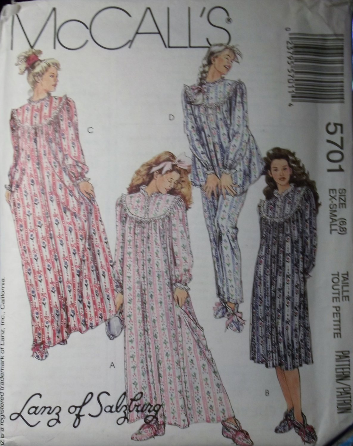 McCalls 5701  by Lanz of Salzburg pattern , Misses nightgown, pajama booties, size 6 8, UNCUT
