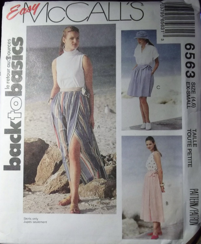 Wrap Skirt in 3 Lengths Misses McCalls Pattern 6563 Size 4 6, UNCUT