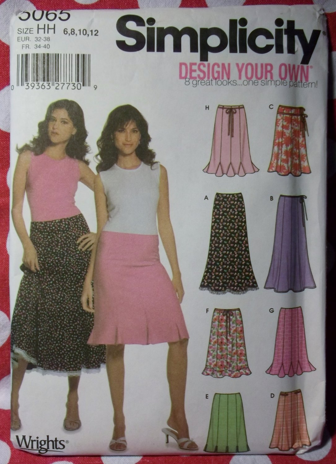 OOP Design Your Own Skirt Pattern, Simplicity 5065, Size 6 to 12 UNCUT