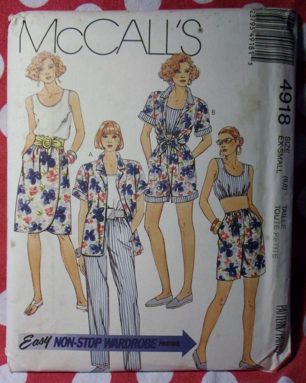 Vintage Easy McCalls 4918 Pattern, Camp Shirt Tank Tops Mock Wrap Skirt Pants Shorts, Sz 6 8, UNCUT