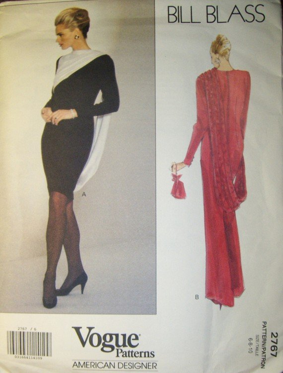 VOGUE 2767 by Bill Blass Sewing Pattern, Dress/Gown, Size 6, 8, 10, Bust 30.5, 31.5, 32.5, UNCUT