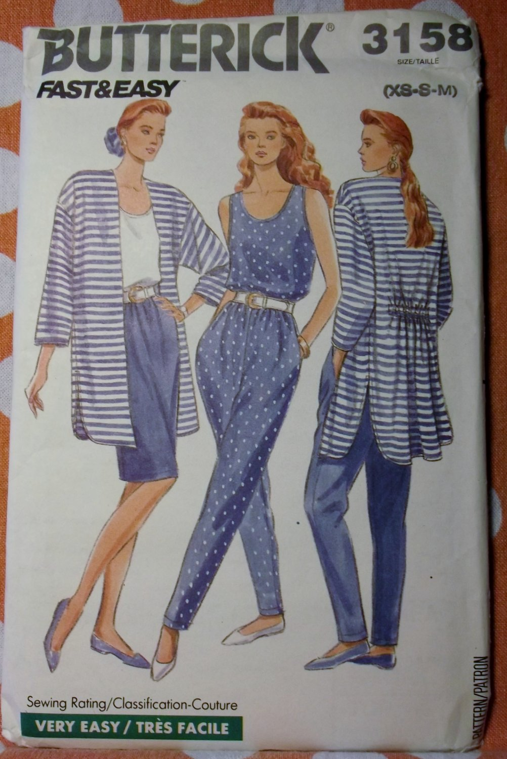 Butterick 3158 Sewing Pattern, Misses Jacket Skirt Pants, Size XS to Med, UNCUT