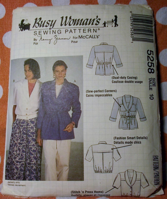 McCalls 5258 Busy Woman's Pattern, Misses Jackets, Size 10,  UNCUT