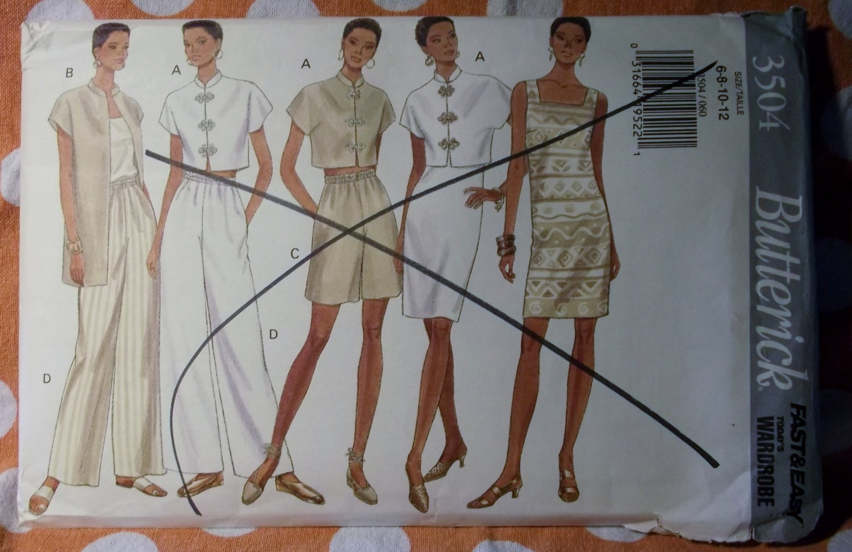 OOP Fast & Easy Butterick 3504 Pattern Misses Dress Top Shorts Pants Sz 6 8 10 12 UNCUT