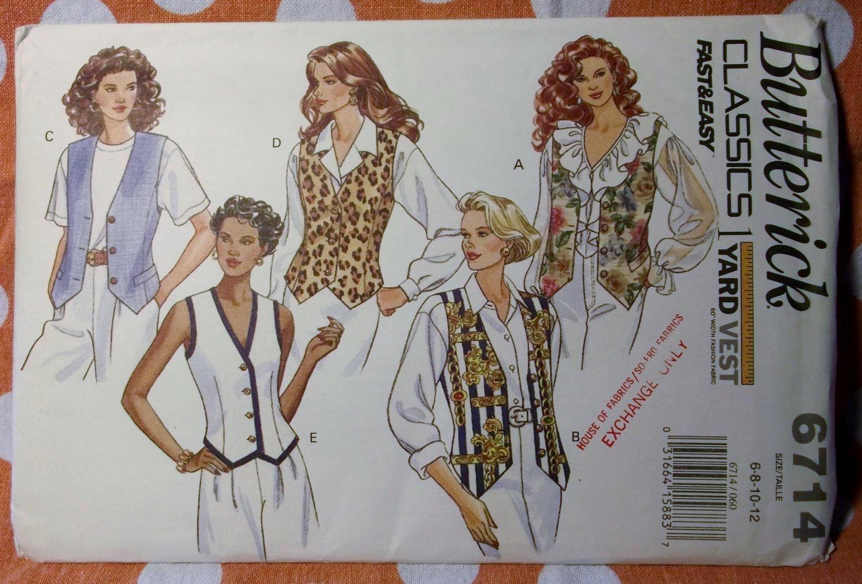 OOP Butterick 6714 Pattern, Misses Easy One Yard Vest, Sz 6 8 10 12, Uncut FF