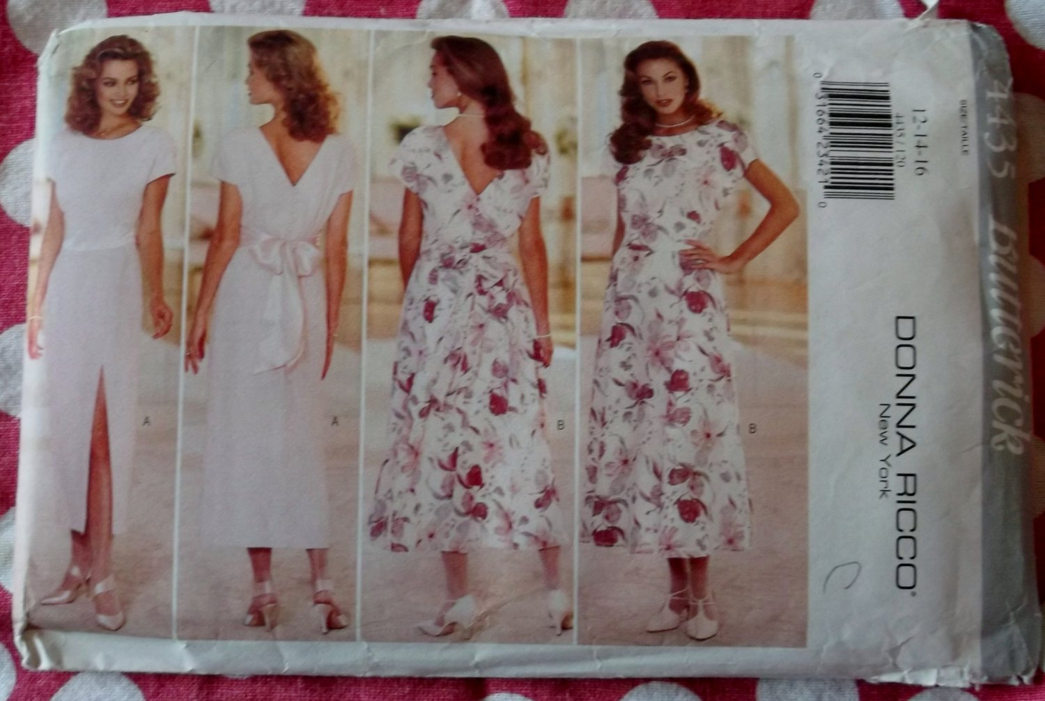 OOP Easy Butterick 4435 Donna Ricco Misses Dress Straight or Flared Skirt, Sz 12 14 16, UNCUT