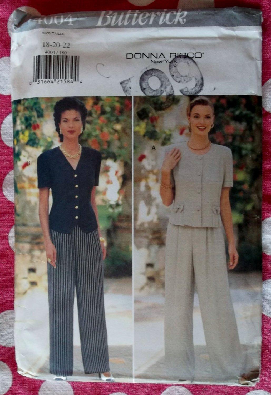 OOP Butterick 4004 Designer Donna Ricco Pattern, Misses Top Pants Sz 18 20 22, UNCUT
