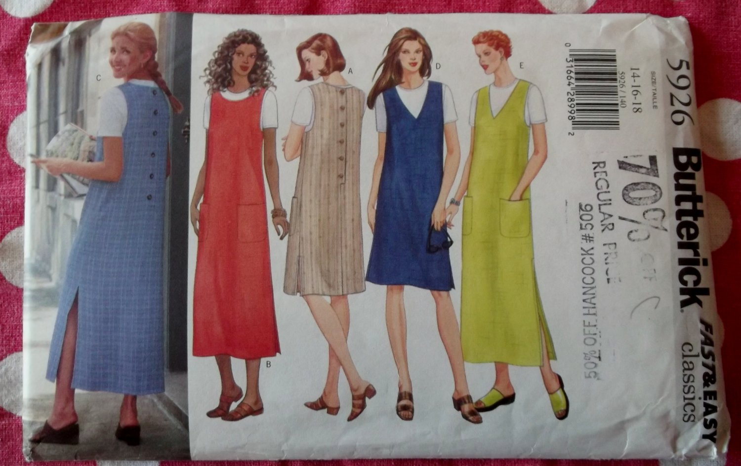 OOP Very Easy Butterick 5926 Pattern, Misses Petite Jumper Dress, Sz 14 16 18, UNCUT