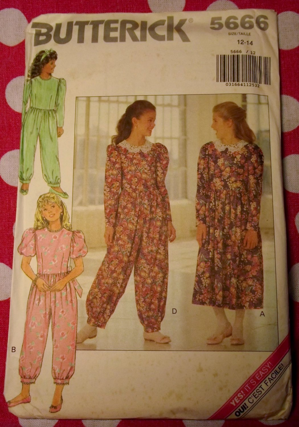 OOP Easy Butterick 5666 Pattern, Girls Dress or Baggy Jumpsuit, Size 12 14, UNCUT