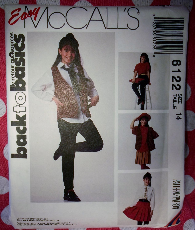 OOP Easy  McCalls 6122 Pattern, Girls Vest, Shirt, Skirt, Pants & Tie,  Sz 14, Uncut