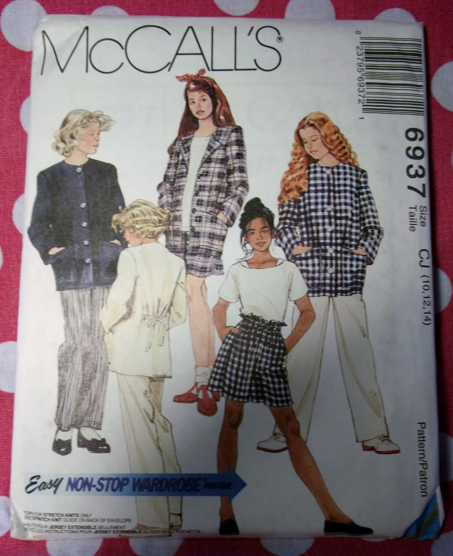 OOP Easy McCalls 6937 Pattern, Girl's Jacket Top Pants Shorts , Sz 10, 12, 14, UNCUT