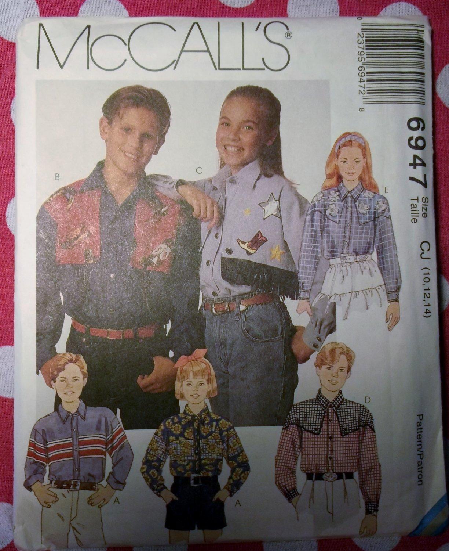 OOP McCall's 6947 Pattern Boys or Girls Western Shirt, Sz 10 12 14, UNCUT