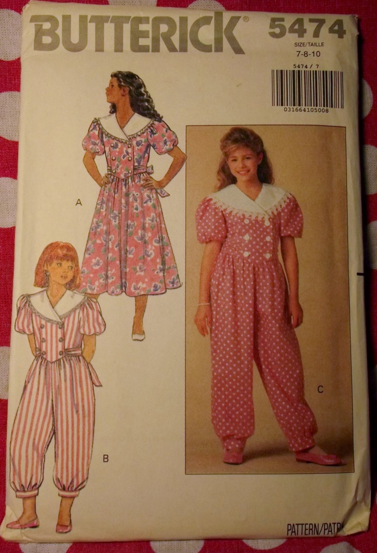 OOP Butterick 5474 Pattern, Girls Dress and Jumpsuit, Sz 7 8 10, Uncut FF