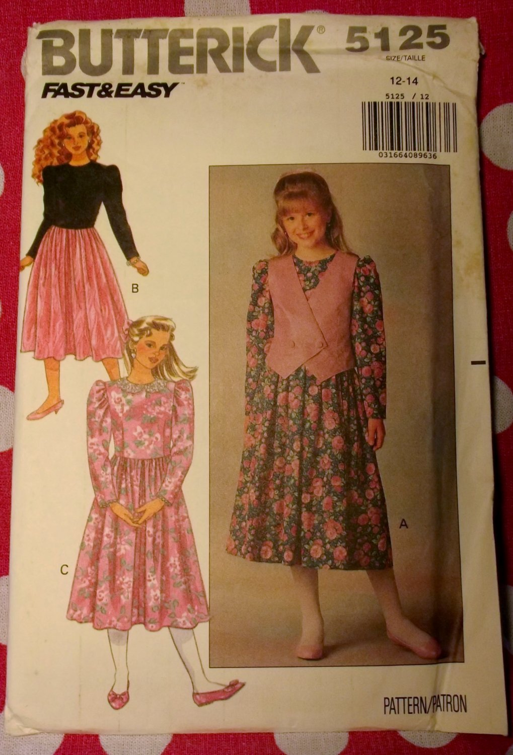 OOP Very Easy Butterick 5125 Sewing , Girls Dress & Vest, Sz 12 14, UNCUT, FF