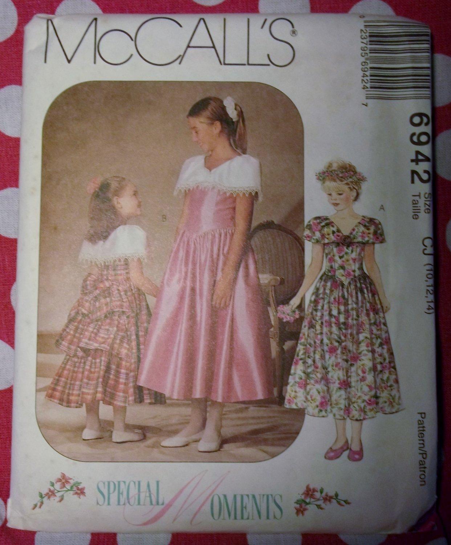 OOP McCall's 6942 Pattern, Girls Formal Dress, Sz 10, 12, 14, UNCUT