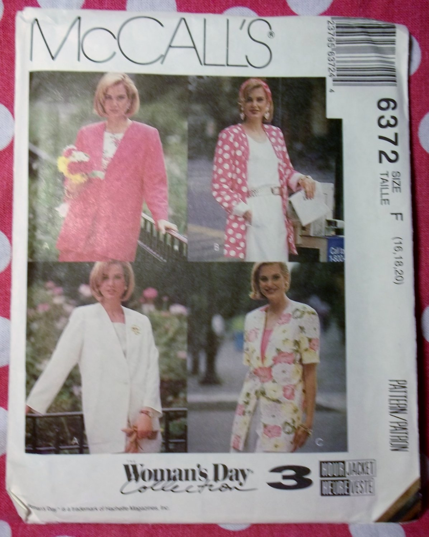OOP McCalls 6372 Woman's Day 3-Hour Pattern, Misses Jacket,  16 18 20, UNCUT