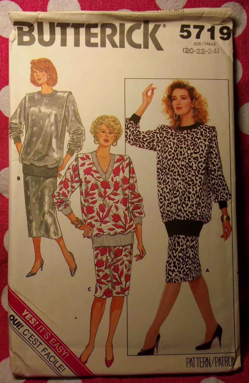 Vintage McCalls 5719 Pattern, Misses Top & Skirt, Sz 20 22 24, UNCUT