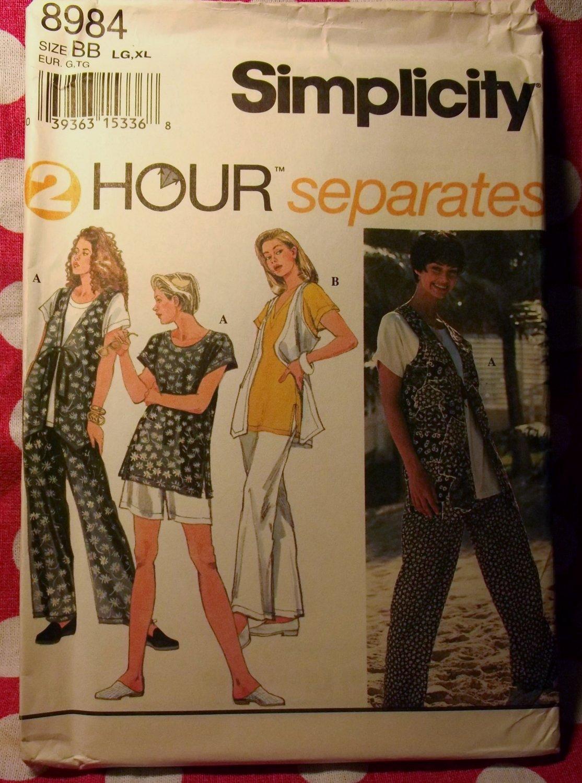 OOP Easy Simplicity 8984 Pattern, Misses Pants Shorts lined Vest & Tops, Sz 18 20 22 24, UNCUT