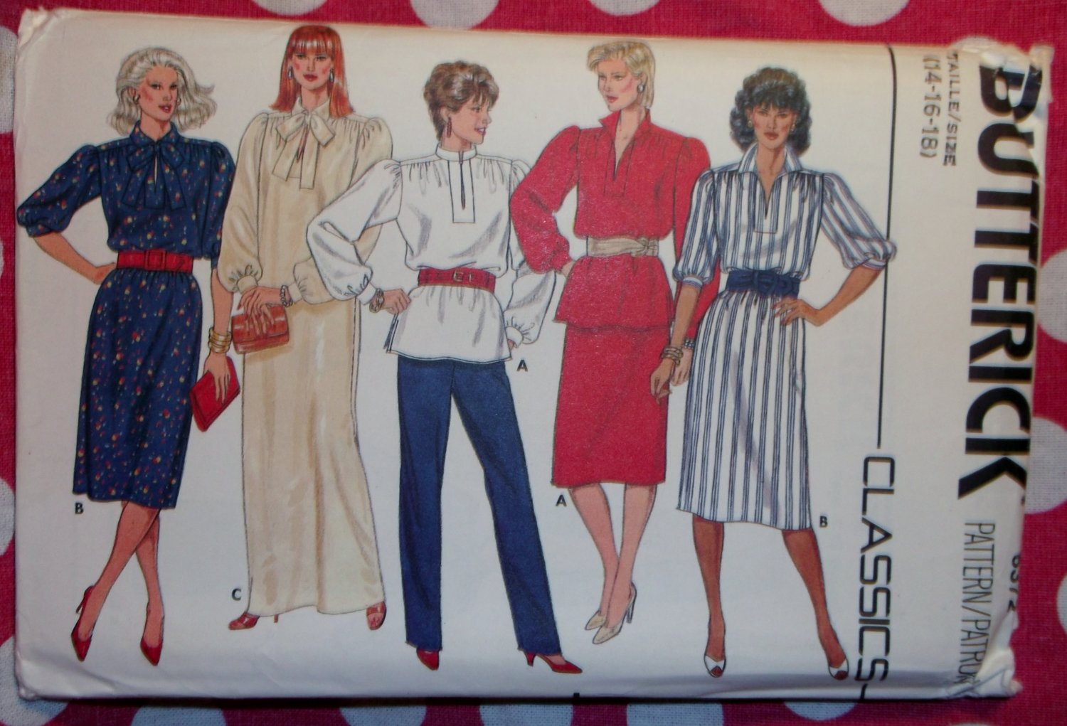 Vintage Butterick 6372 Pattern, Misses Dress Top Skirt & Pants, Sz 14 16 18, UNCUT