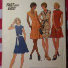 Vintage 70s Fast & Easy Butterick 3574 Pattern, Misses Dress, Sz 18, UNCUT