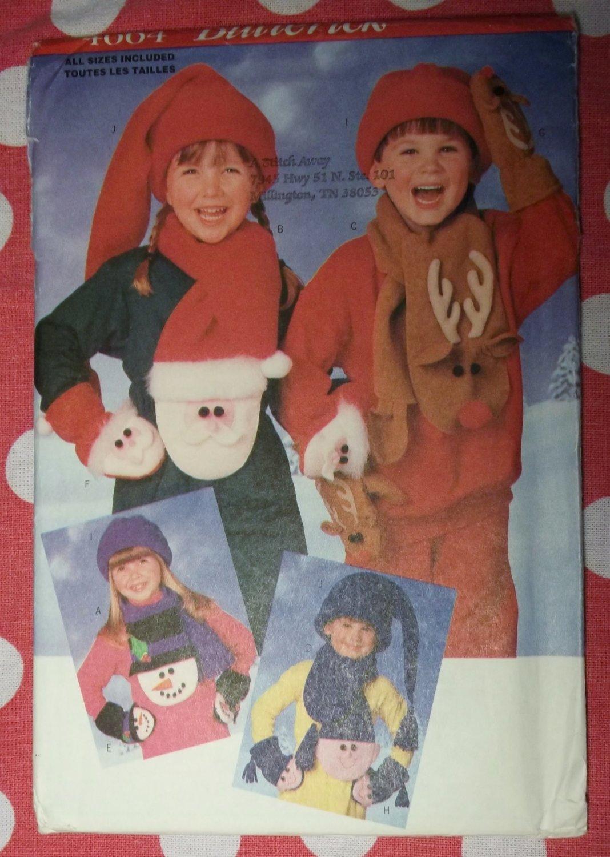 OOP Butterick 4664 Pattern Kids Christmas Fleece Scarves, Mittens, & Hats, Sz Sm, Md, Lg, UNCUT