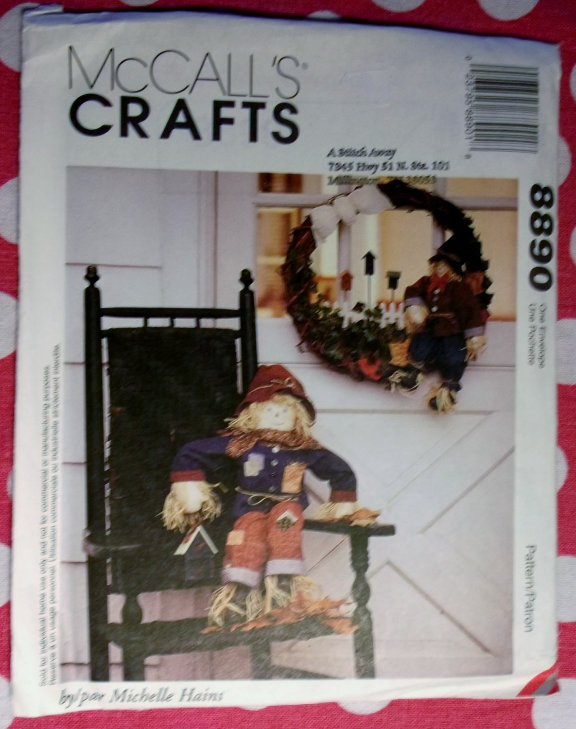 OOP McCall's 8890 Scarecrow & Wreath Pattern Sewing, UNCUT